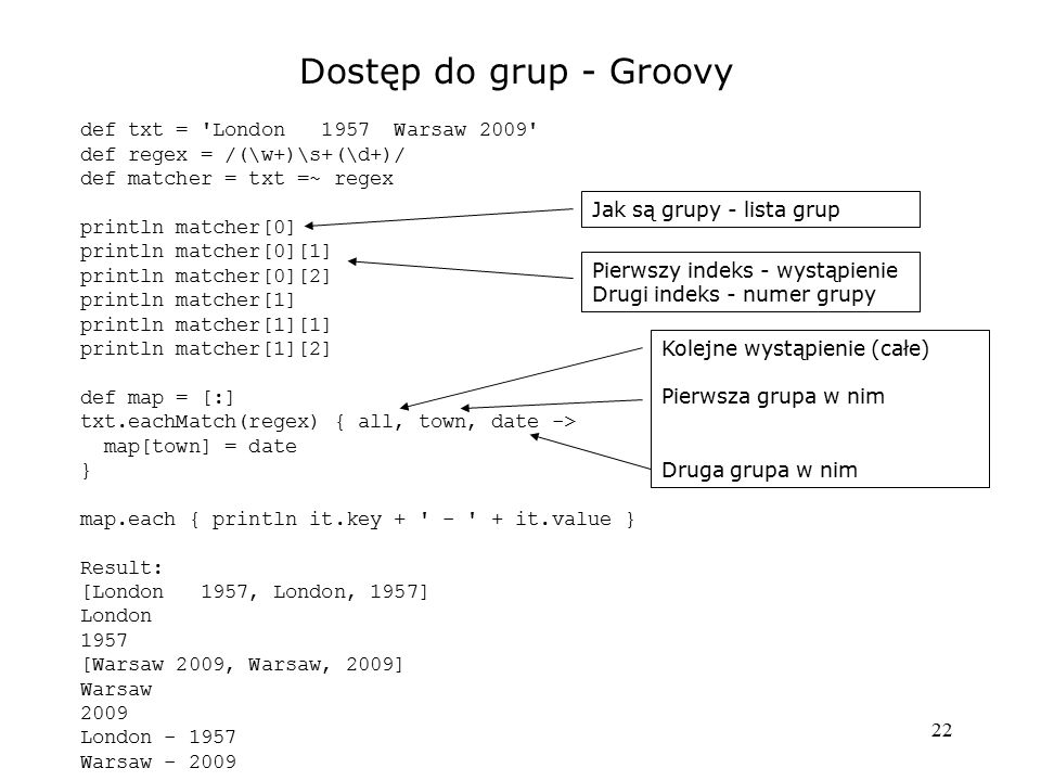 Dostęp do grup - Groovy def txt = London 1957 Warsaw 2009