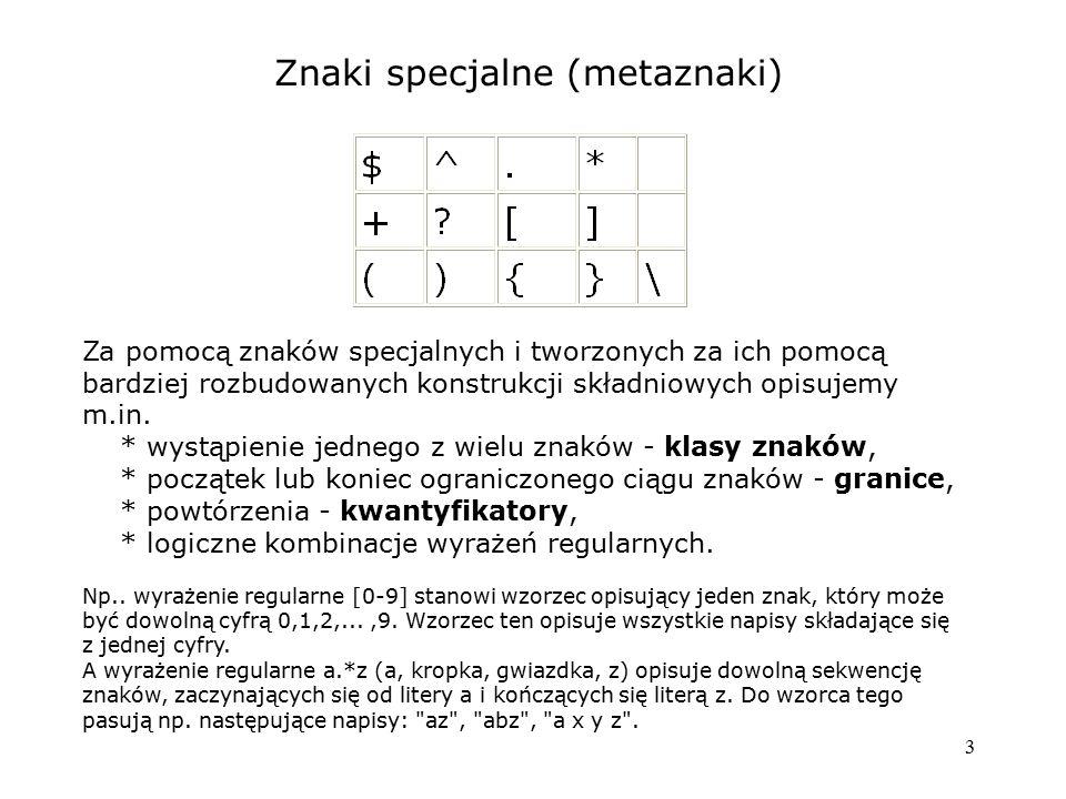 Znaki specjalne (metaznaki)