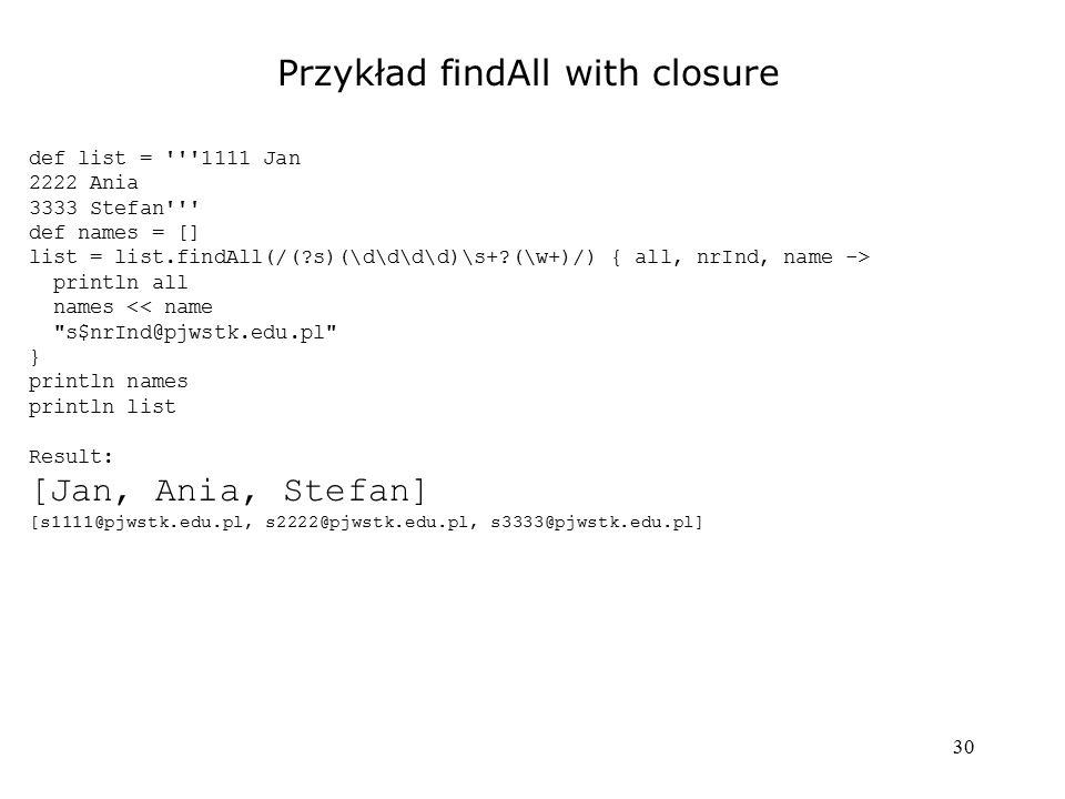 Przykład findAll with closure