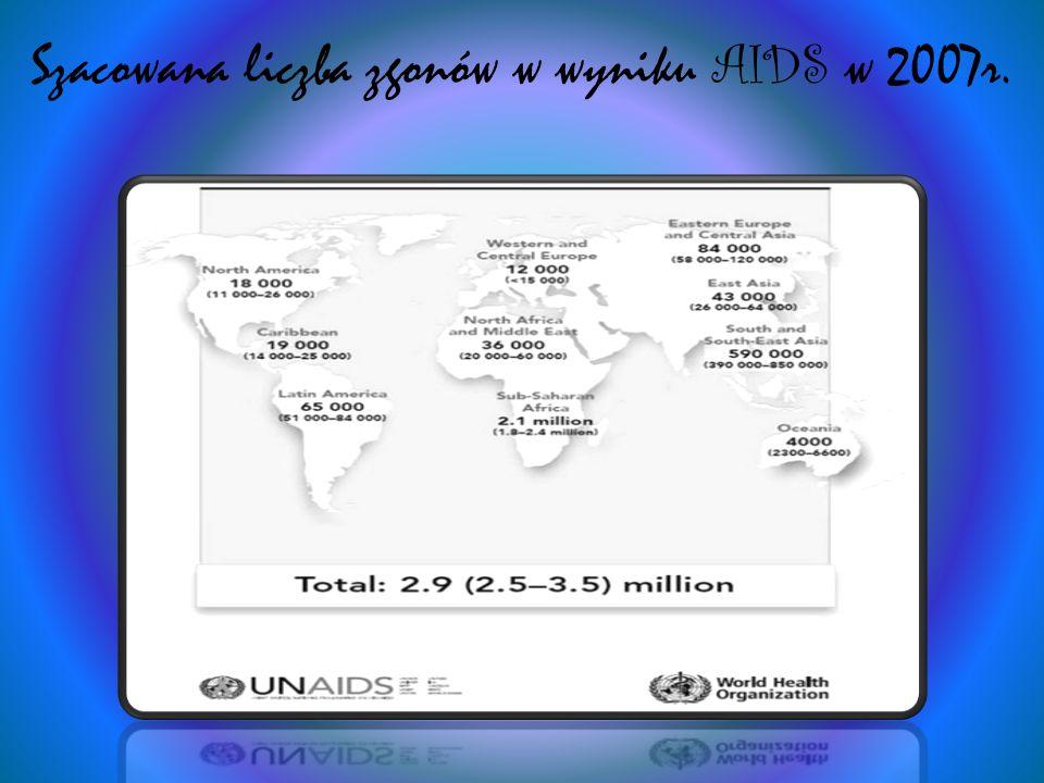 Szacowana liczba zgonów w wyniku AIDS w 2007r.
