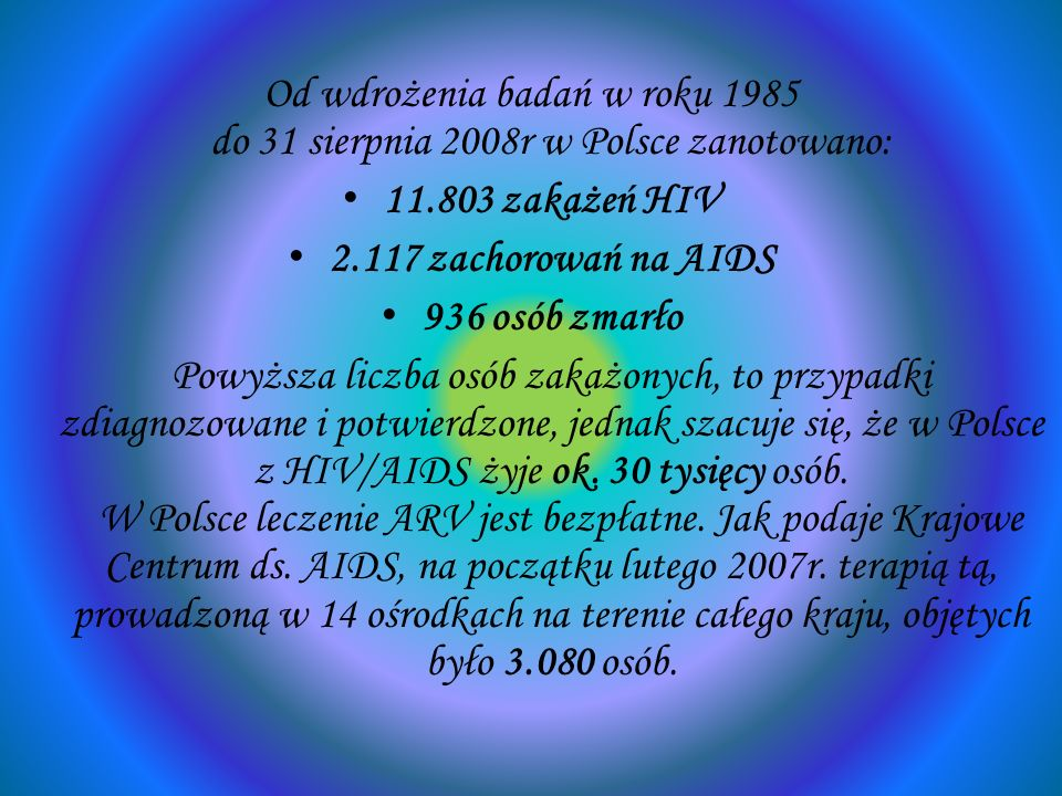 Od wdrożenia badań w roku 1985 do 31 sierpnia 2008r w Polsce zanotowano: