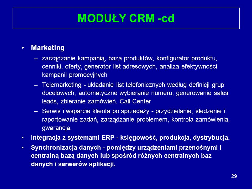 MODUŁY CRM -cd Marketing