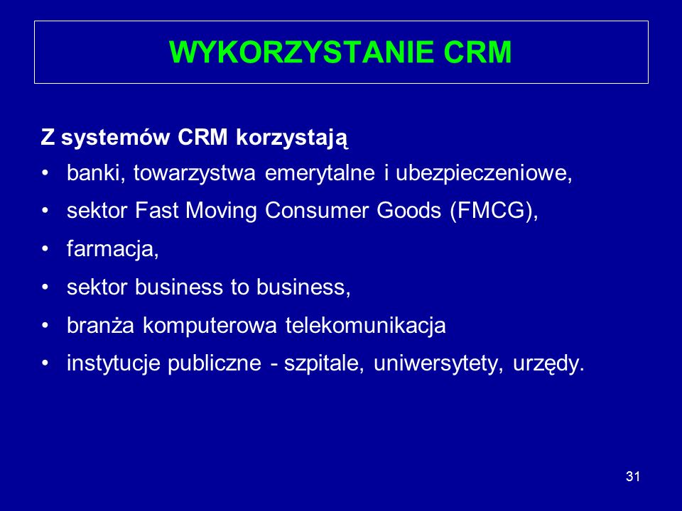 WYKORZYSTANIE CRM Z systemów CRM korzystają