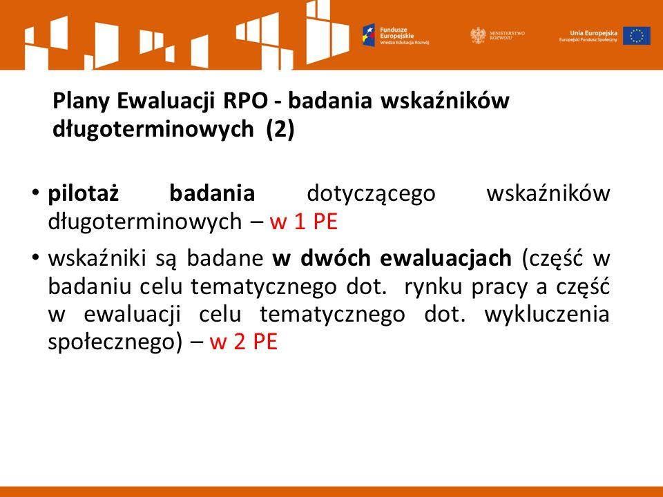 Plany Ewaluacji RPO - badania wskaźników długoterminowych (2)