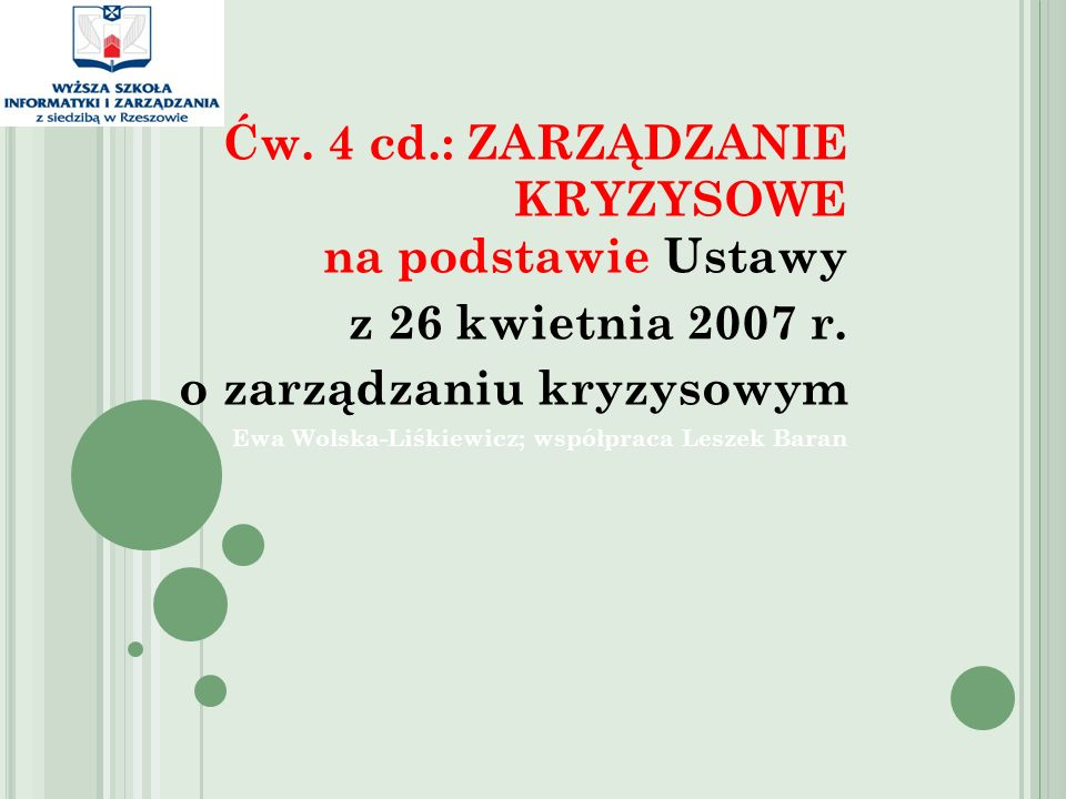 Ćw. 4 cd.: ZARZĄDZANIE KRYZYSOWE na podstawie Ustawy