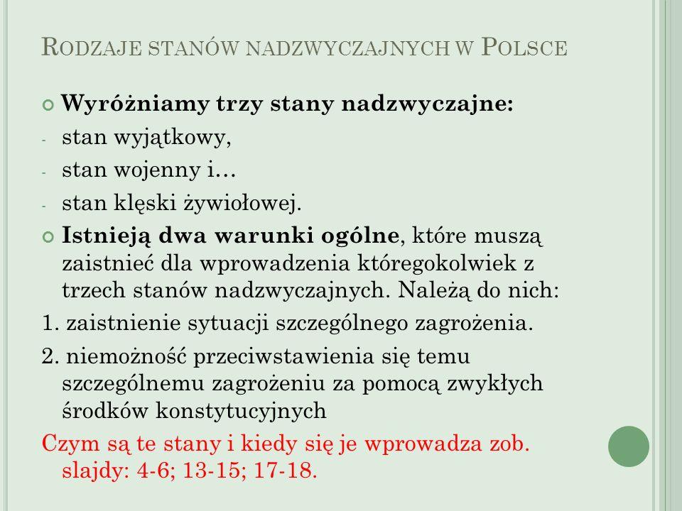 Rodzaje stanów nadzwyczajnych w Polsce