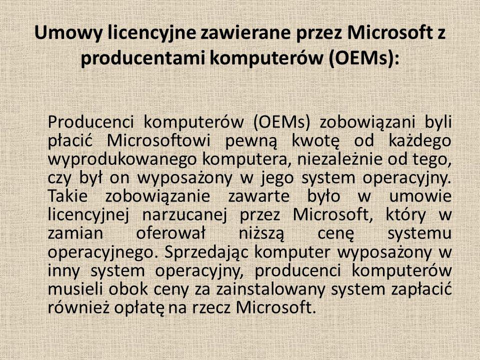 Umowy licencyjne zawierane przez Microsoft z producentami komputerów (OEMs):