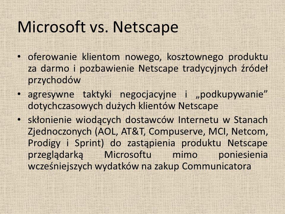 Microsoft vs. Netscape oferowanie klientom nowego, kosztownego produktu za darmo i pozbawienie Netscape tradycyjnych źródeł przychodów.