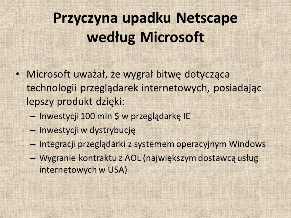 Przyczyna upadku Netscape według Microsoft