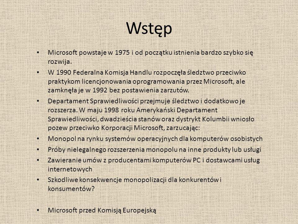 Wstęp Microsoft powstaje w 1975 i od początku istnienia bardzo szybko się rozwija.