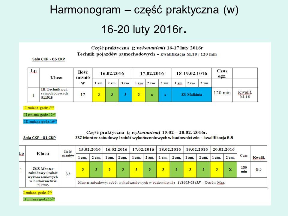 Harmonogram – część praktyczna (w) 16-20 luty 2016r.