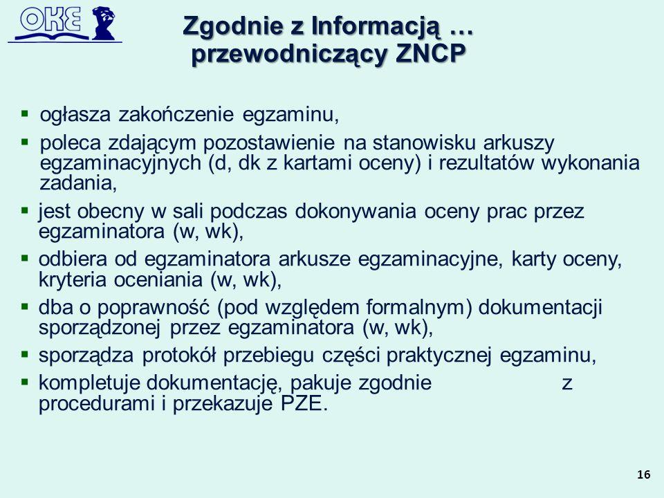 Zgodnie z Informacją … przewodniczący ZNCP