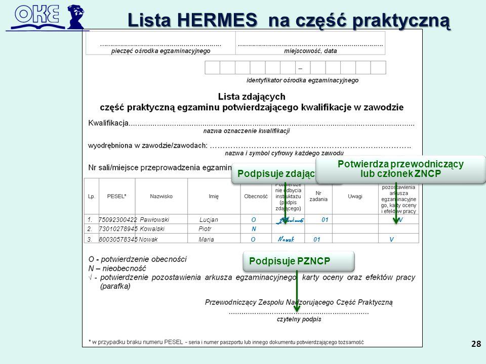 Lista HERMES na część praktyczną
