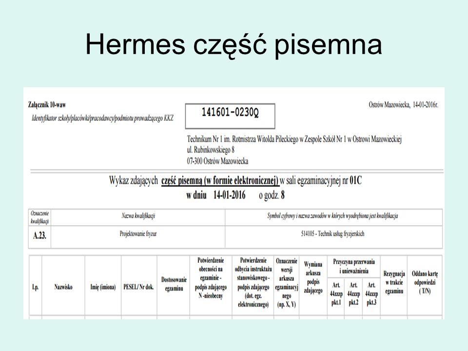 Hermes część pisemna