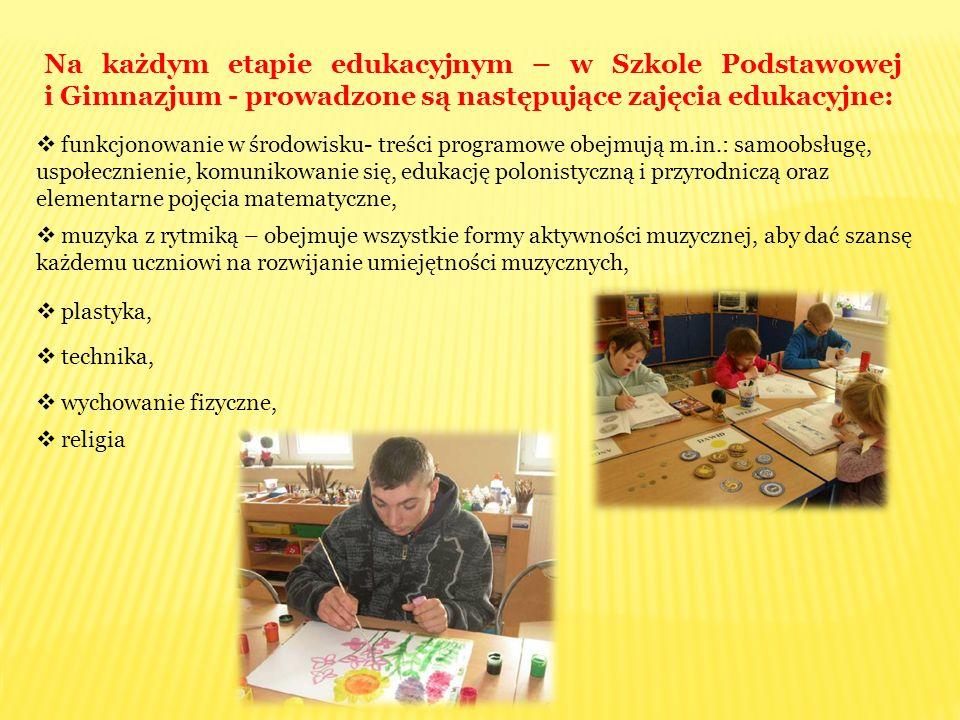 Na każdym etapie edukacyjnym – w Szkole Podstawowej i Gimnazjum - prowadzone są następujące zajęcia edukacyjne: