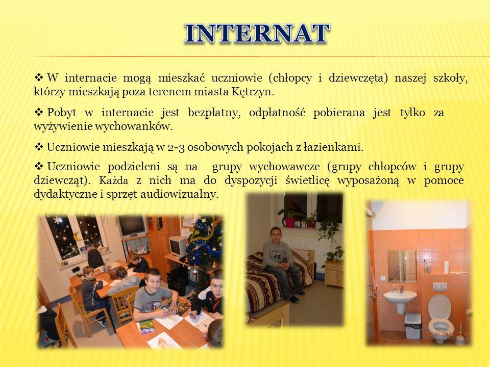 INTERNAT W internacie mogą mieszkać uczniowie (chłopcy i dziewczęta) naszej szkoły, którzy mieszkają poza terenem miasta Kętrzyn.