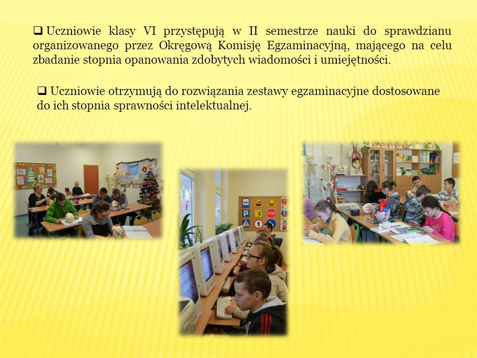 Uczniowie klasy VI przystępują w II semestrze nauki do sprawdzianu organizowanego przez Okręgową Komisję Egzaminacyjną, mającego na celu zbadanie stopnia opanowania zdobytych wiadomości i umiejętności.