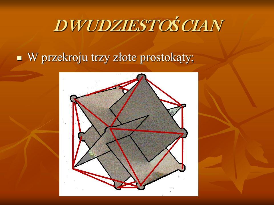DWUDZIESTOŚCIAN W przekroju trzy złote prostokąty;