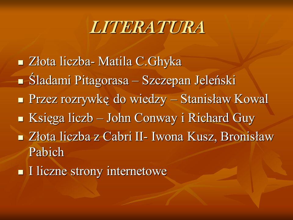 LITERATURA Złota liczba- Matila C.Ghyka
