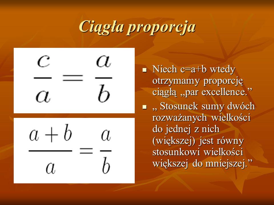 """Ciągła proporcja Niech c=a+b wtedy otrzymamy proporcję ciągłą """"par excellence."""