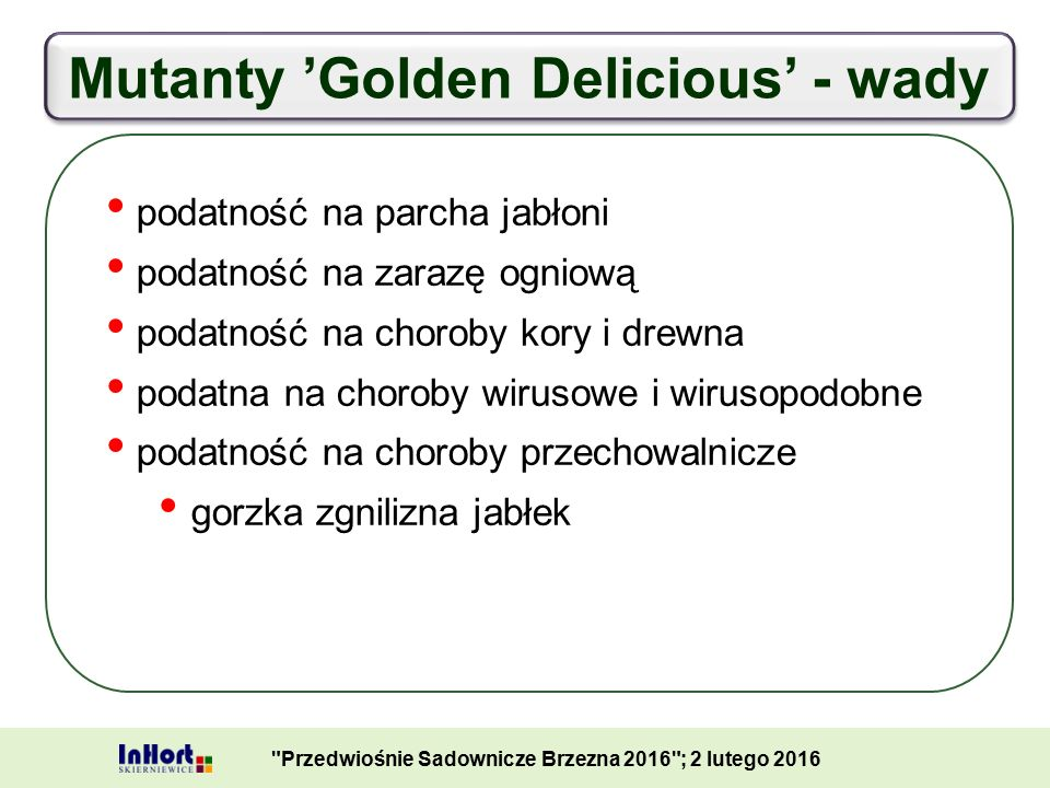 Mutanty 'Golden Delicious' - wady