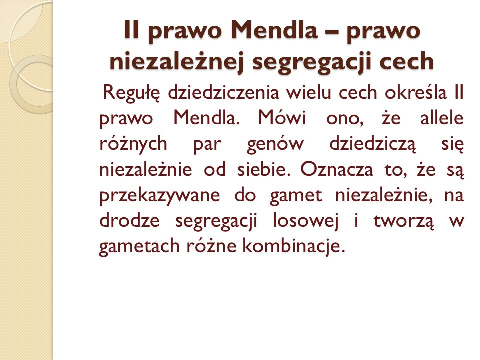 II prawo Mendla – prawo niezależnej segregacji cech