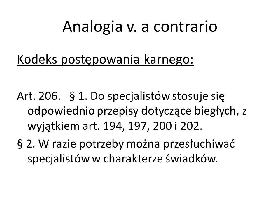 Analogia v. a contrario Kodeks postępowania karnego: