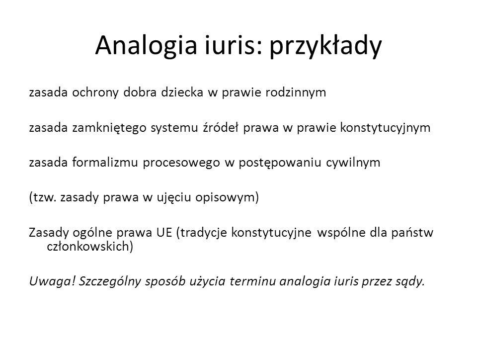Analogia iuris: przykłady