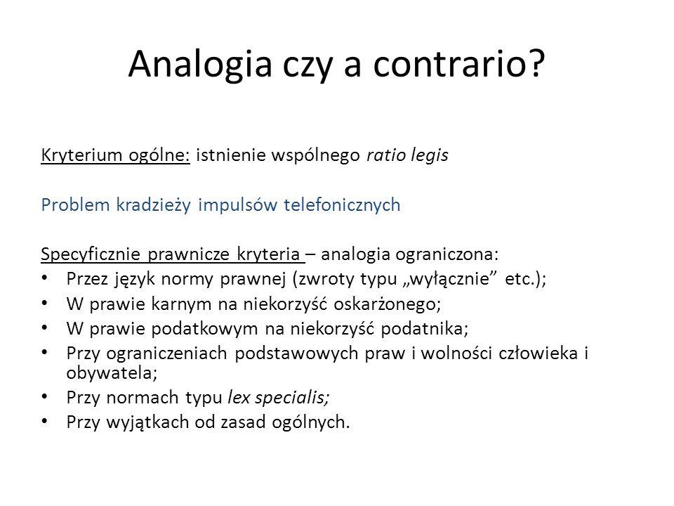 Analogia czy a contrario