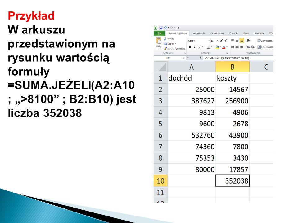 """Przykład W arkuszu przedstawionym na rysunku wartością formuły =SUMA.JEŻELI(A2:A10 ; """">8100 ; B2:B10) jest liczba 352038."""