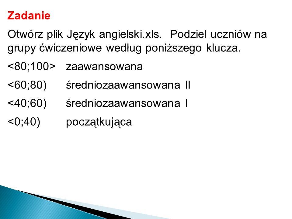 Zadanie Otwórz plik Język angielski.xls. Podziel uczniów na grupy ćwiczeniowe według poniższego klucza.