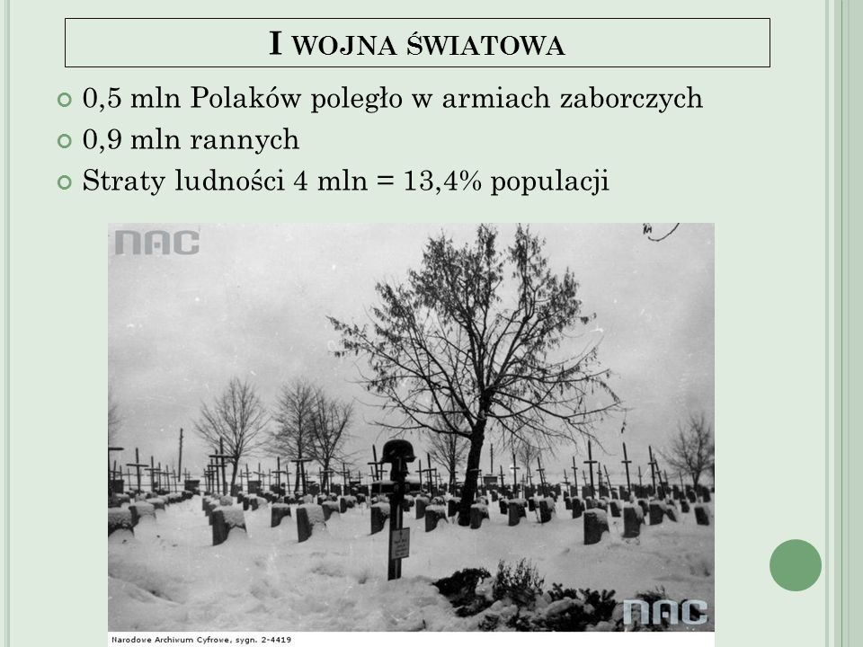 I wojna światowa 0,5 mln Polaków poległo w armiach zaborczych