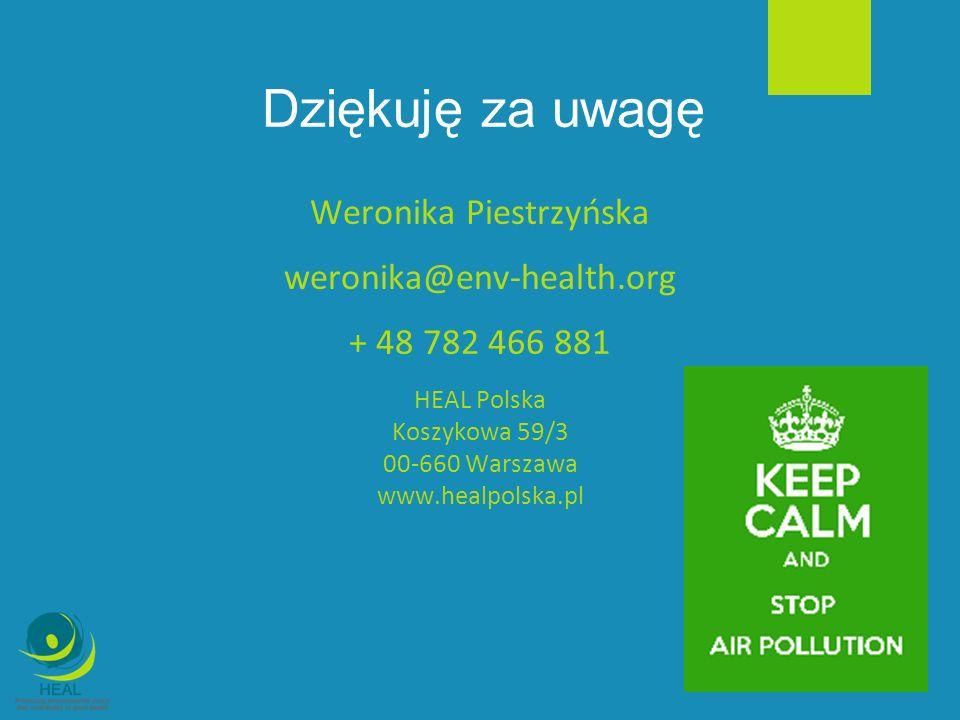 Dziękuję za uwagę Weronika Piestrzyńska weronika@env-health.org