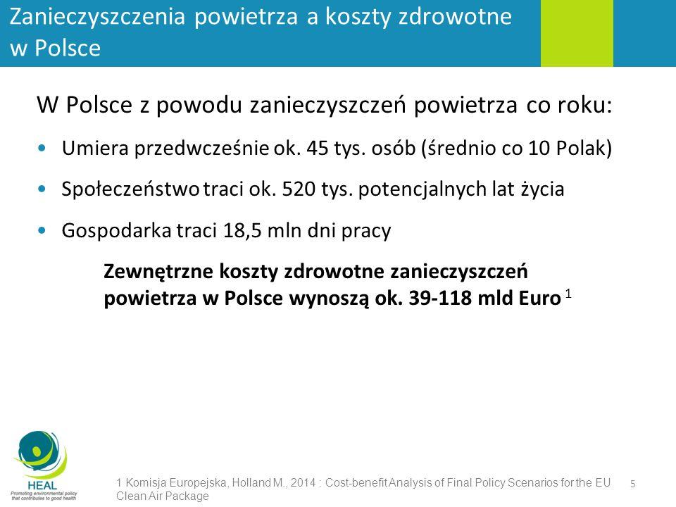 Zanieczyszczenia powietrza a koszty zdrowotne w Polsce