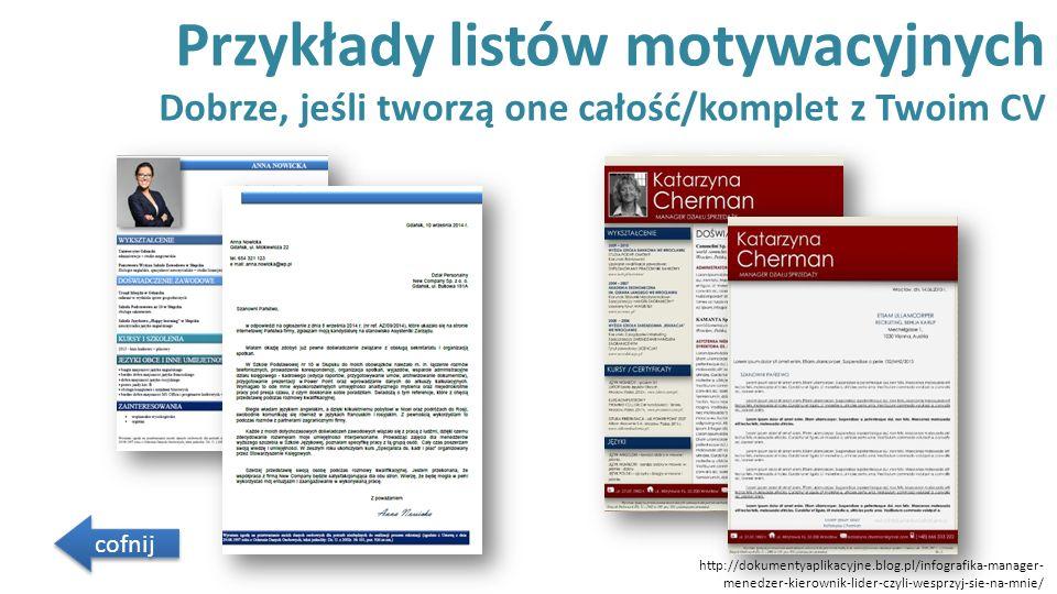 Przykłady listów motywacyjnych