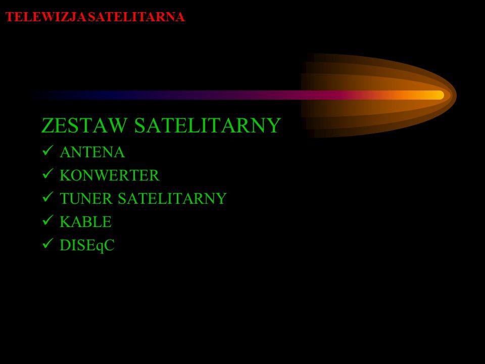 ZESTAW SATELITARNY ANTENA KONWERTER TUNER SATELITARNY KABLE DISEqC