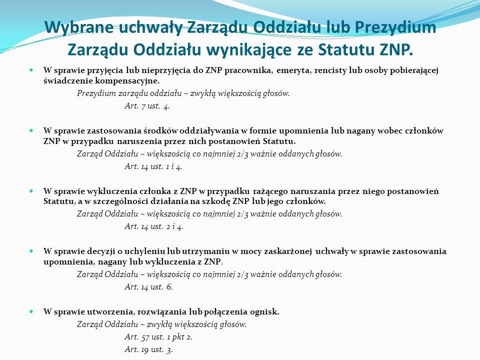 Wybrane uchwały Zarządu Oddziału lub Prezydium Zarządu Oddziału wynikające ze Statutu ZNP.