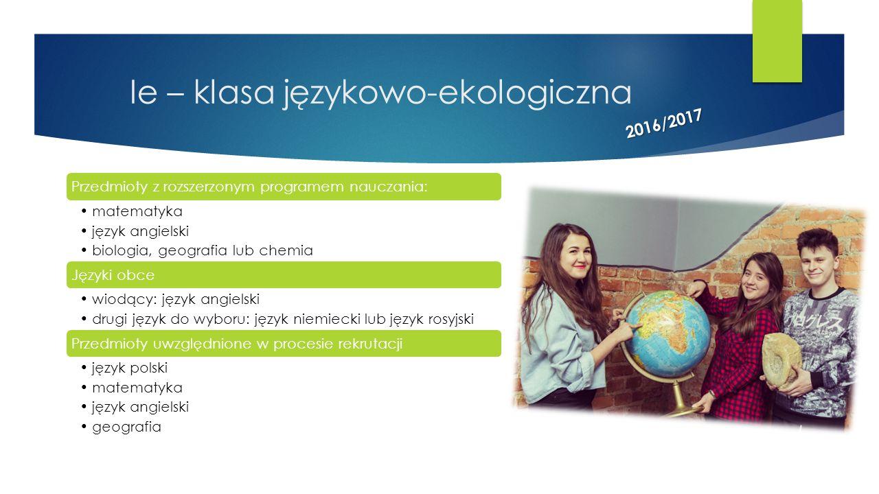 Ie – klasa językowo-ekologiczna
