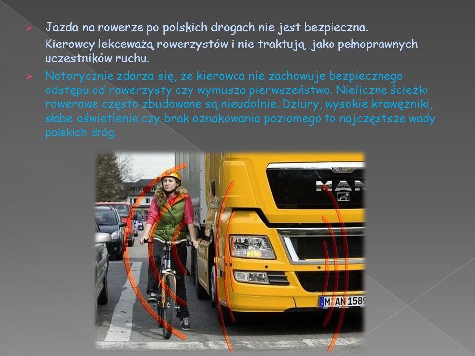Jazda na rowerze po polskich drogach nie jest bezpieczna.