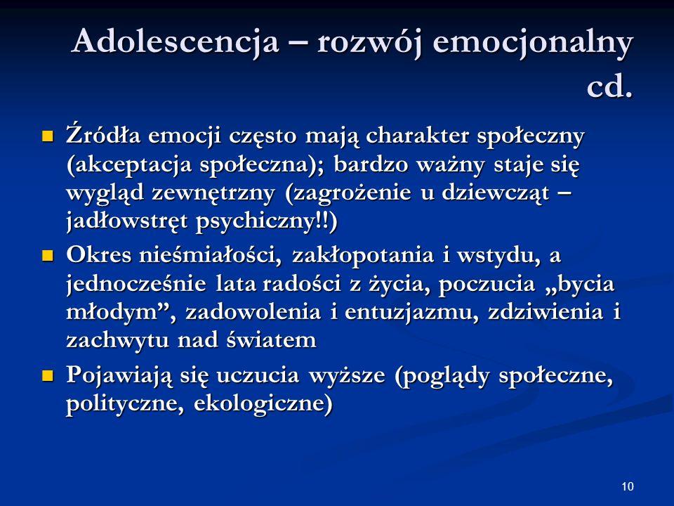Adolescencja – rozwój emocjonalny cd.