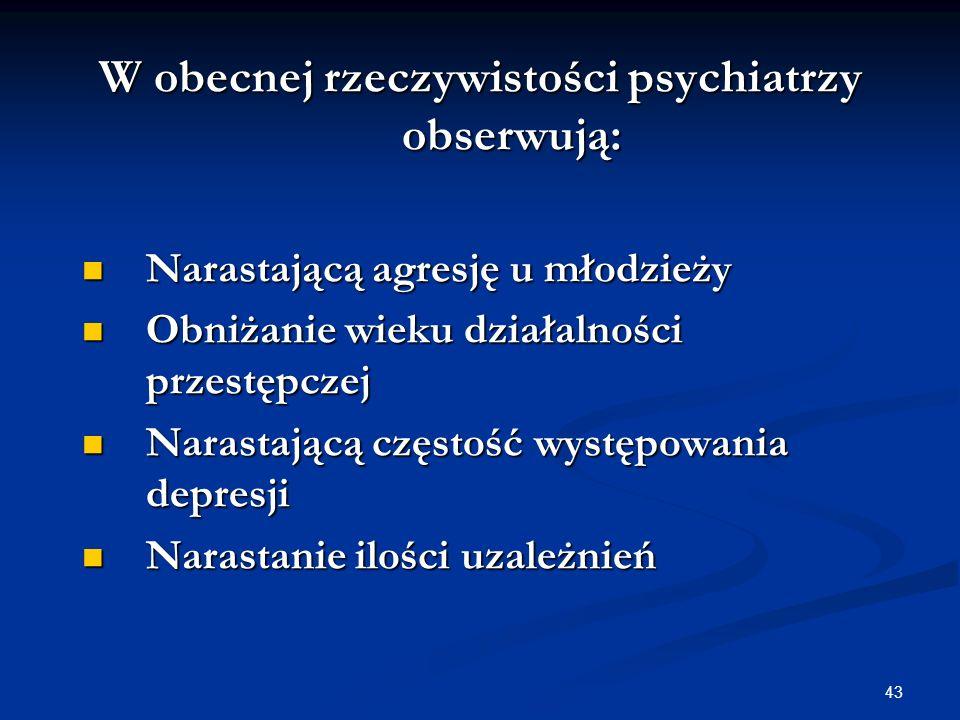 W obecnej rzeczywistości psychiatrzy obserwują:
