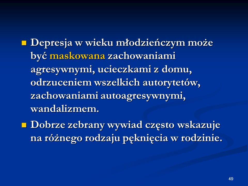 Depresja w wieku młodzieńczym może być maskowana zachowaniami agresywnymi, ucieczkami z domu, odrzuceniem wszelkich autorytetów, zachowaniami autoagresywnymi, wandalizmem.