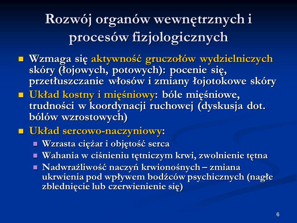 Rozwój organów wewnętrznych i procesów fizjologicznych