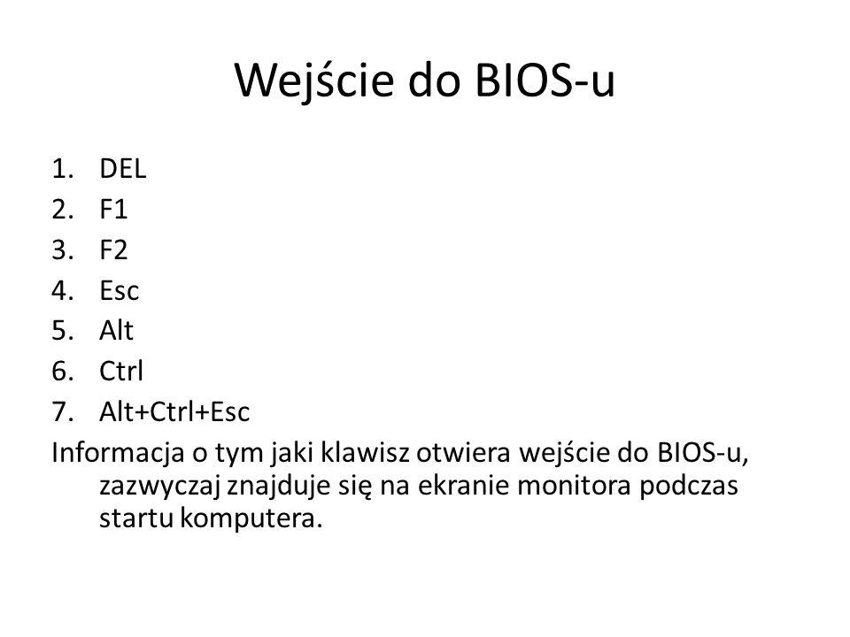 Wejście do BIOS-u DEL F1 F2 Esc Alt Ctrl Alt+Ctrl+Esc