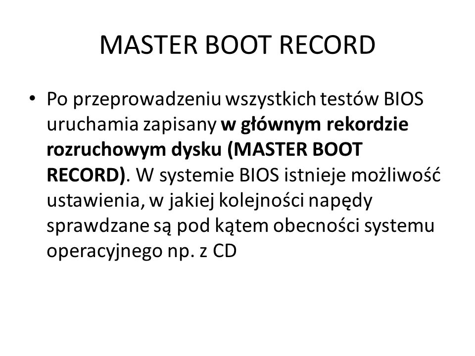 MASTER BOOT RECORD