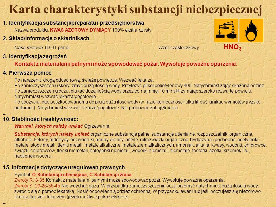 Karta charakterystyki substancji niebezpiecznej