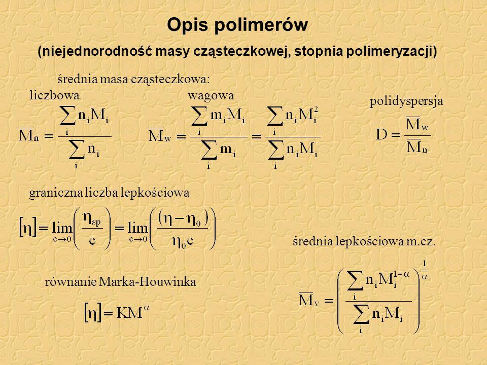 Opis polimerów (niejednorodność masy cząsteczkowej, stopnia polimeryzacji)