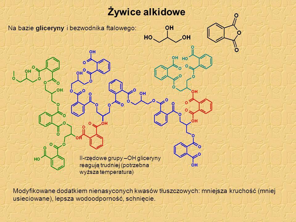 Żywice alkidowe Na bazie gliceryny i bezwodnika ftalowego: