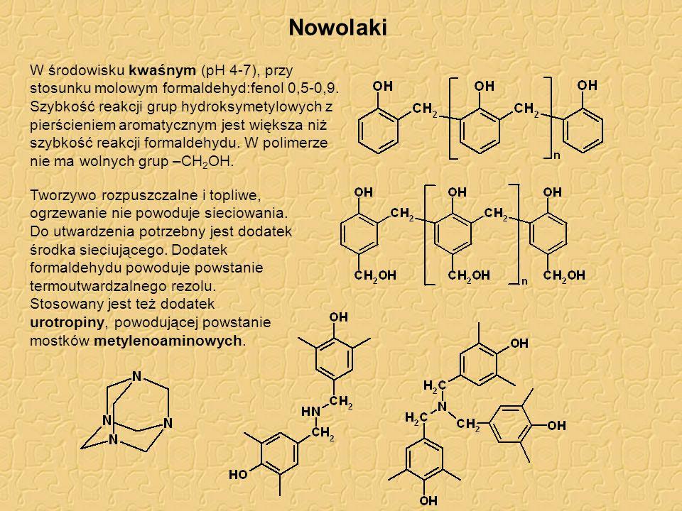 Nowolaki W środowisku kwaśnym (pH 4-7), przy stosunku molowym formaldehyd:fenol 0,5-0,9.