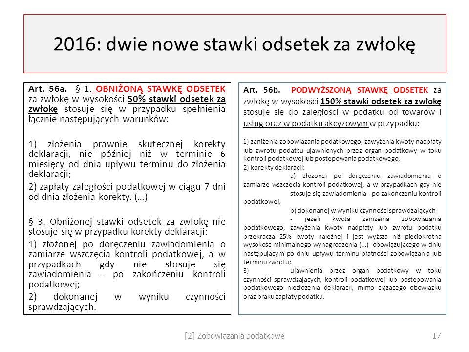 2016: dwie nowe stawki odsetek za zwłokę